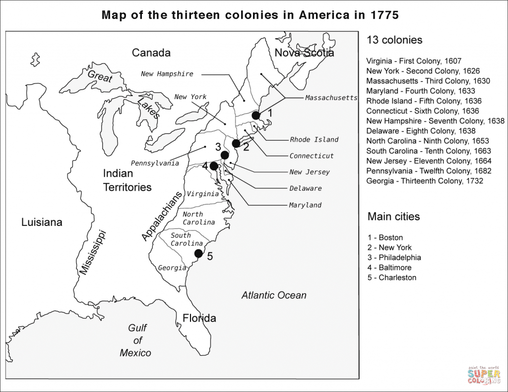 13 Colonies Map Coloring Page   Free Printable Coloring Pages inside 13 Colonies Blank Map Printable