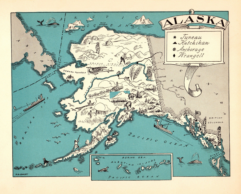 1930's Vintage Alaska State Map Of Alaska Picture Cartoon Map Print pertaining to Alaska State Map Printable