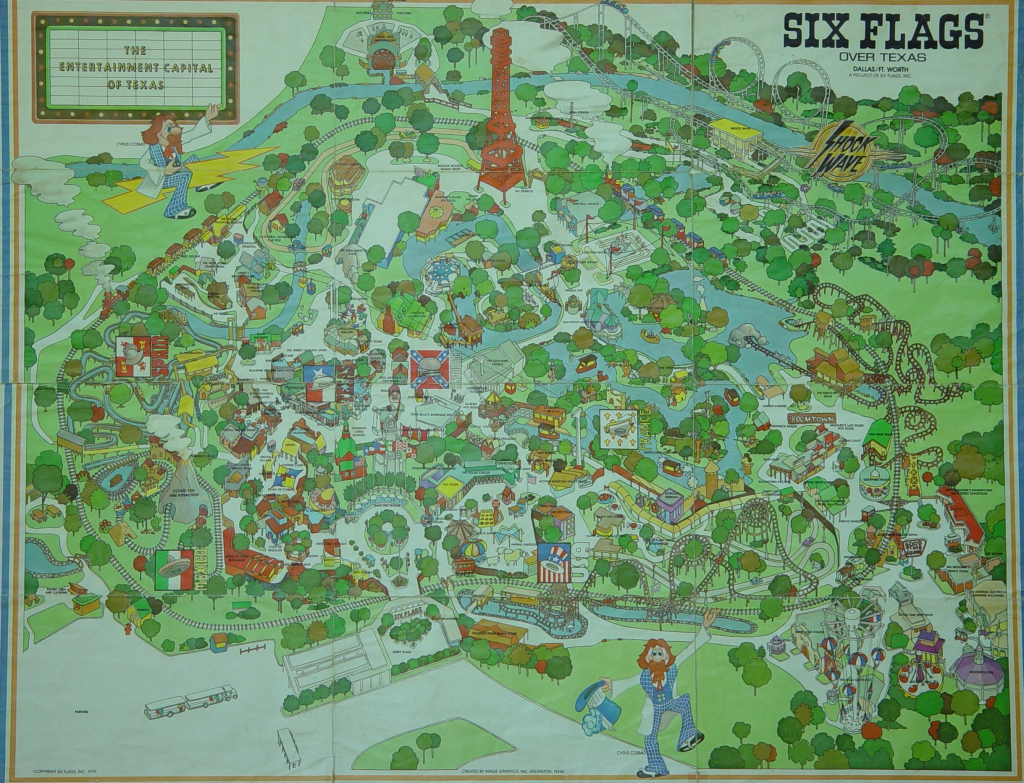 1970S Six Flags Over Texas Map. This Is How The Park Looked When I within Printable Six Flags Over Georgia Map