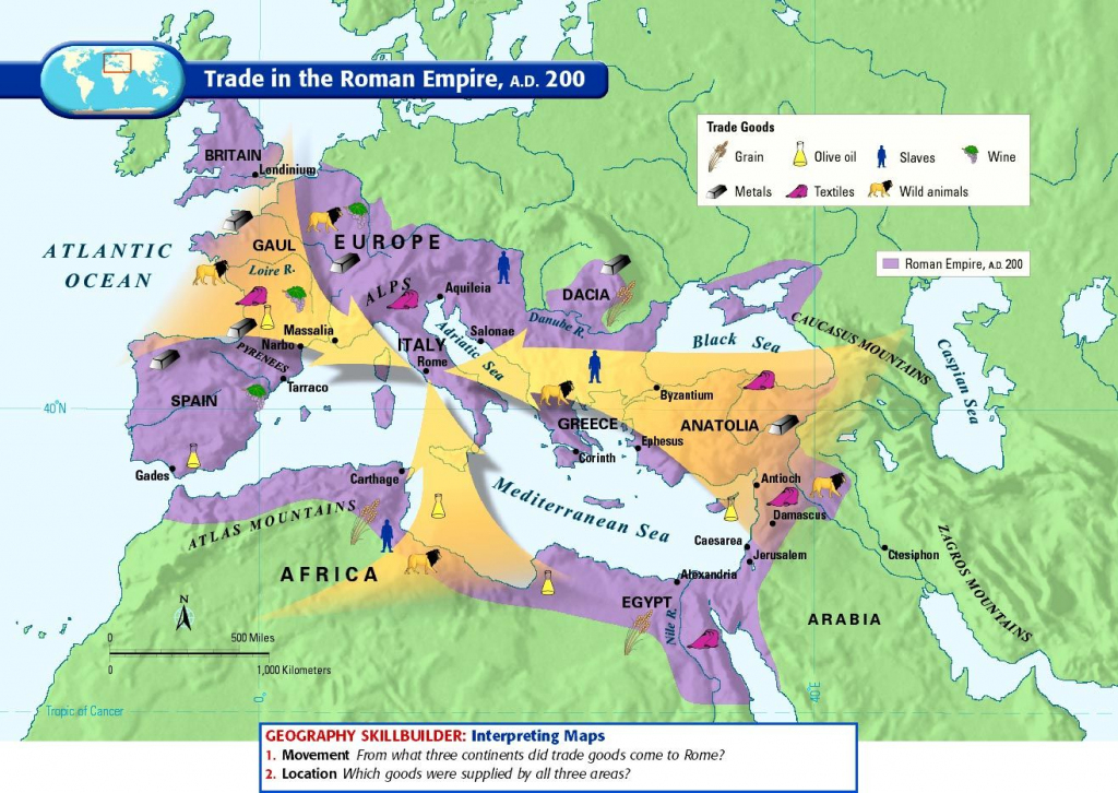 200 Ce) Trade In The Roman Empire | Maps, Charts, Graphs with regard to Roman Empire Map For Kids Printable Map