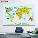 2019 Canvas Art Print Painting Poster, Cartoon Children Kawaii Pertaining To Kid Friendly World Map Printable