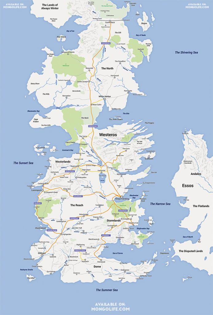 A Google Maps Version Of The Continent Of Westeros From 'game Of intended for Printable Map Of Westeros