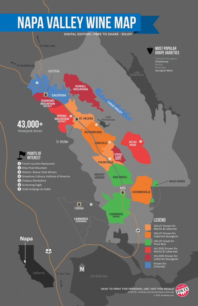 A Simple Guide To Napa Wine (Map) | Wine Folly with regard to Napa Winery Map Printable