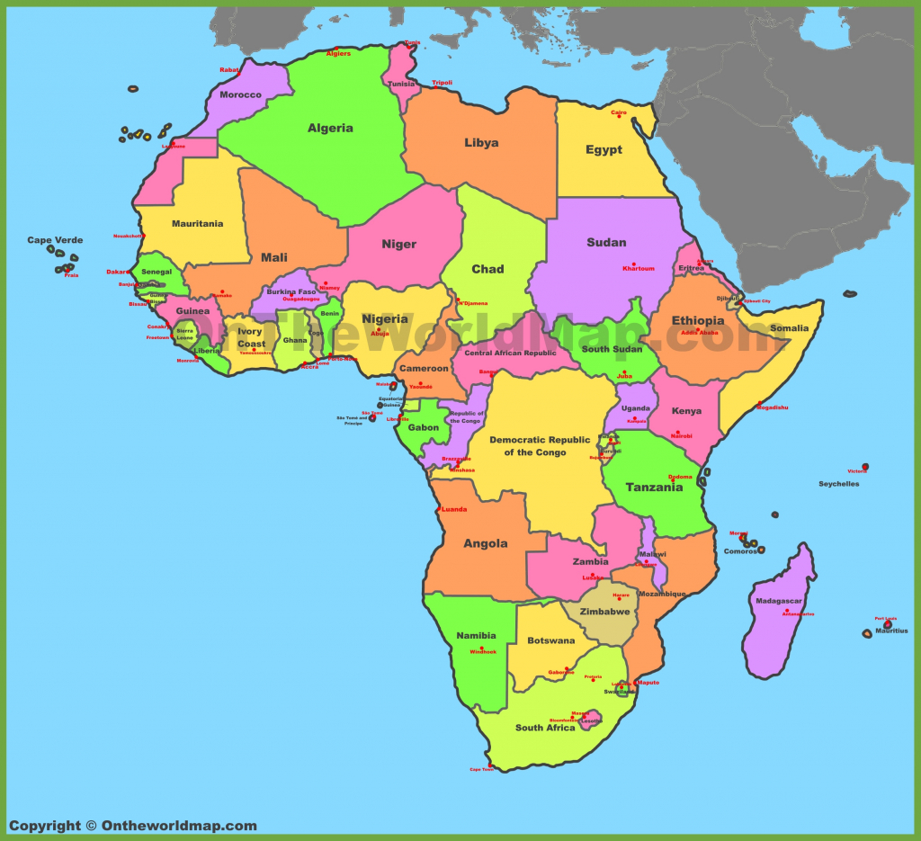 Africa Political Map Free Download inside Free Printable Political Map Of Africa