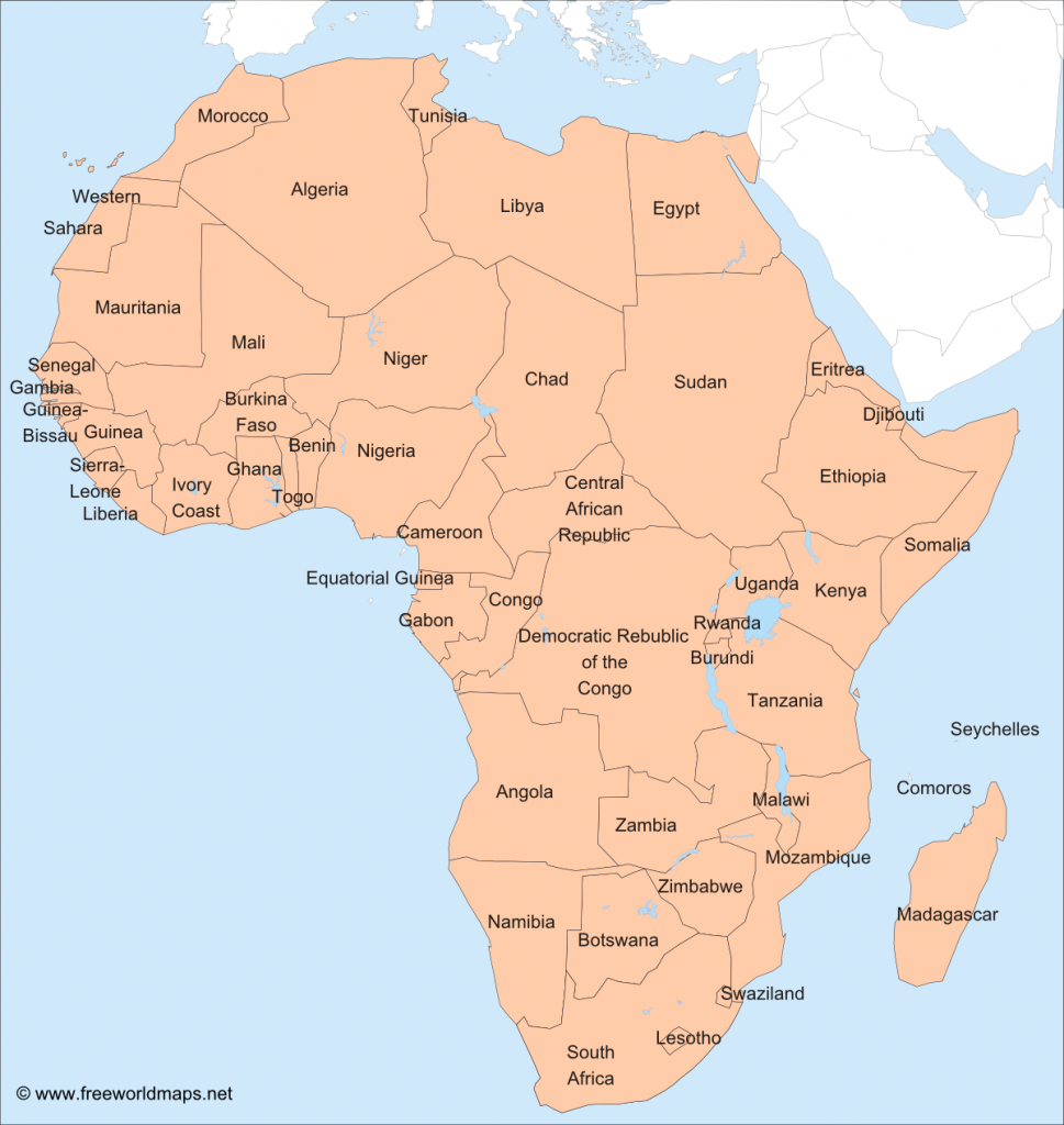 Africa – Printable Maps –Freeworldmaps regarding Printable Map Of Africa With Countries Labeled