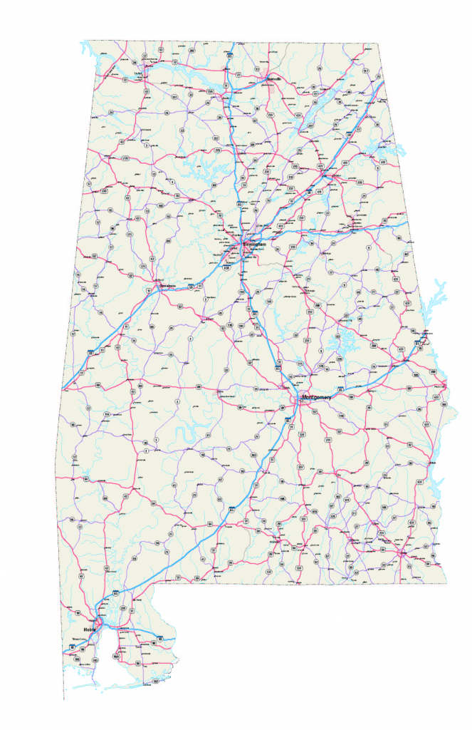 Alabama Maps - Free Printable Alabama Road Maps in Printable Map Of Alabama