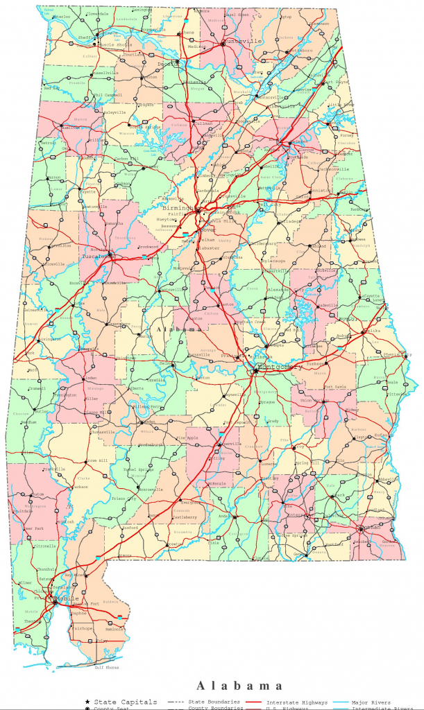 Alabama Printable Map with regard to Printable Map Of Tennessee Counties And Cities