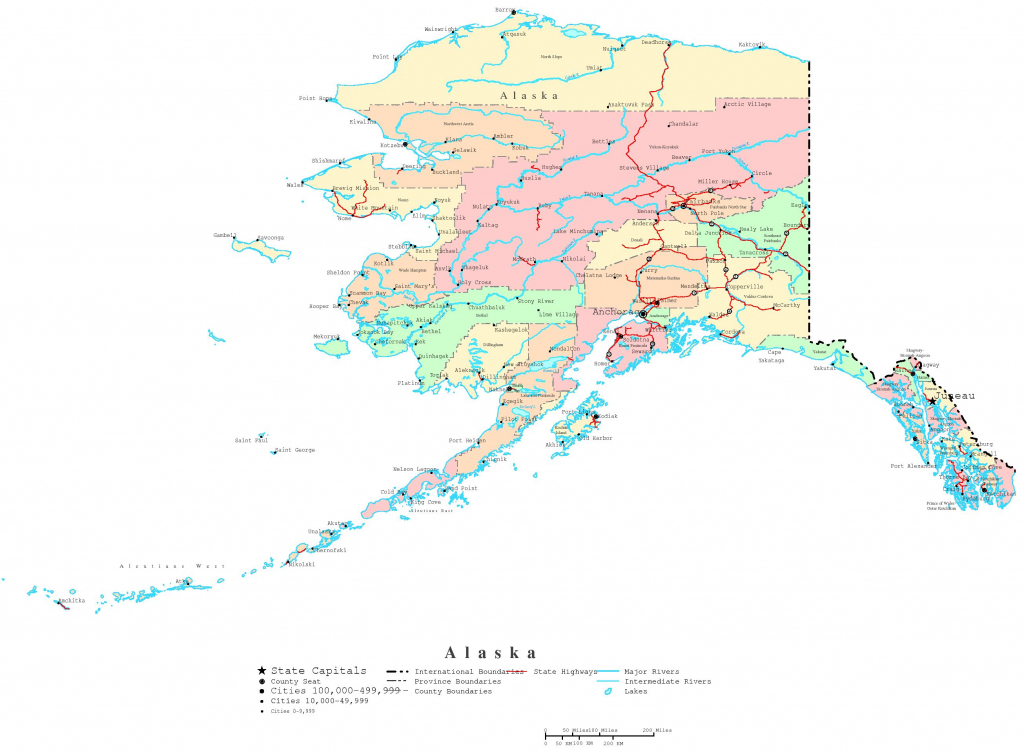 Alaska Printable Map for Printable Map Of Alaska