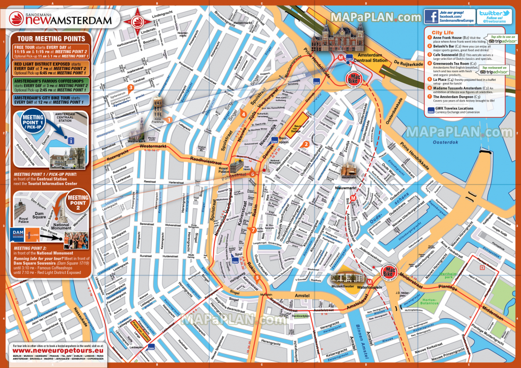 Amsterdam Maps - Top Tourist Attractions - Free, Printable City in Amsterdam Tram Map Printable