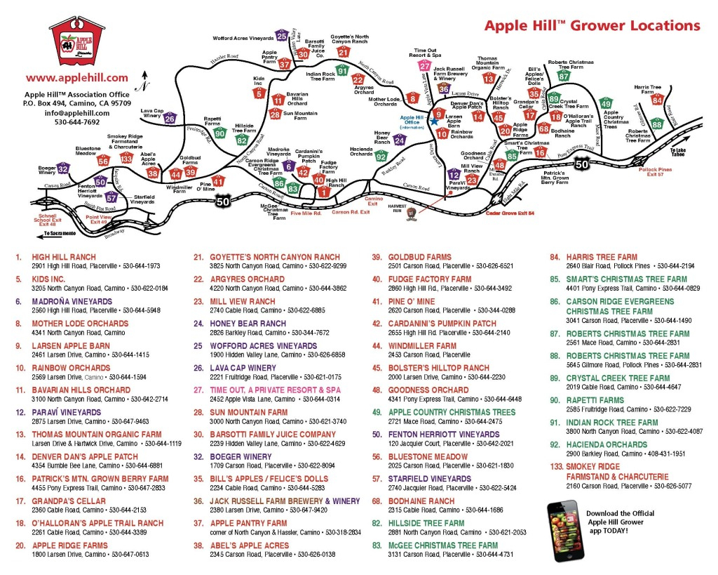 Apple Hill Lodgingnorth Canyon Inn pertaining to Apple Hill Printable Map