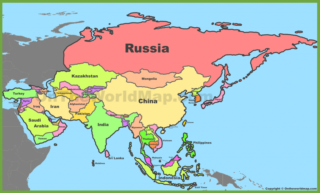 Asia Political Map intended for Asia Political Map Printable