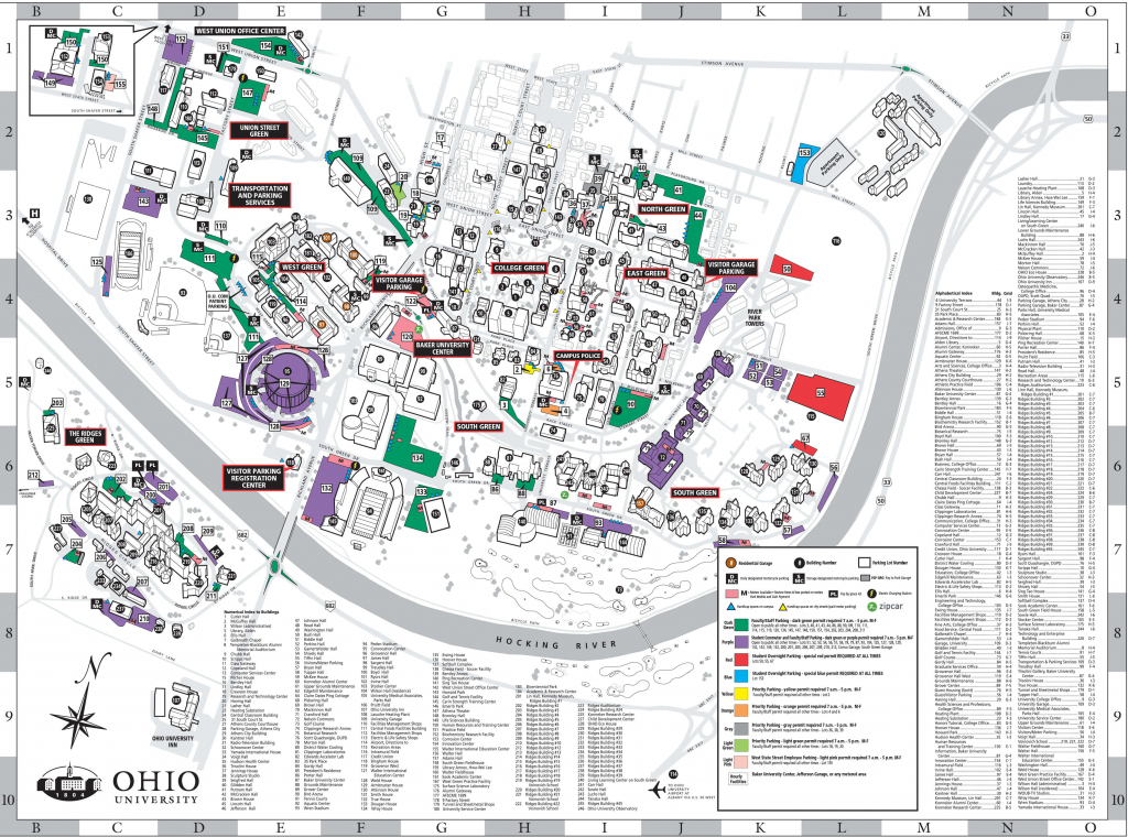 Athens Campus Parking Map | Ohio University throughout Ohio State Map Printable