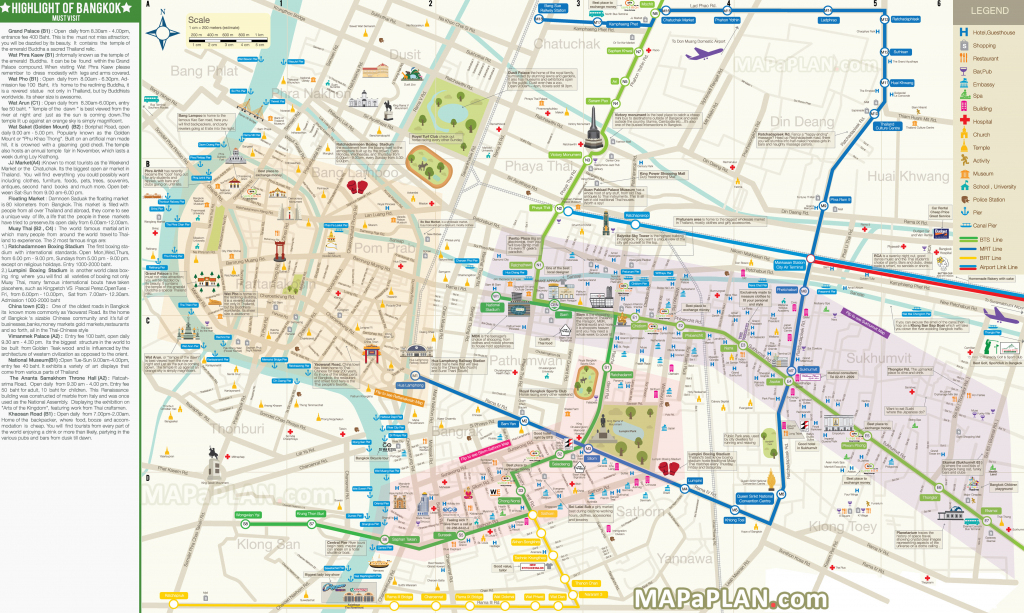 Bangkok Maps - Top Tourist Attractions - Free, Printable City Street Map within Printable City Street Maps
