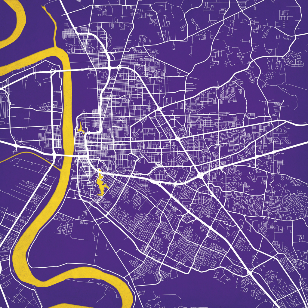 Baton Rouge, Louisiana Map Art - City Prints with regard to Printable Map Of Baton Rouge