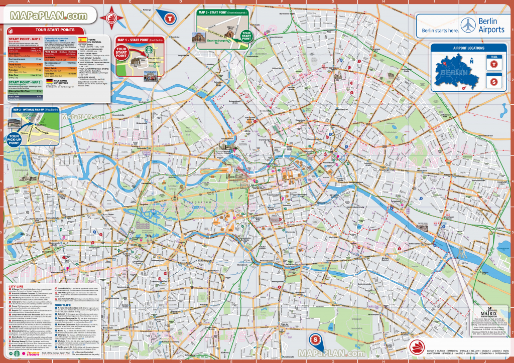 Berlin Maps - Top Tourist Attractions - Free, Printable City Street Map within Berlin Tourist Map Printable