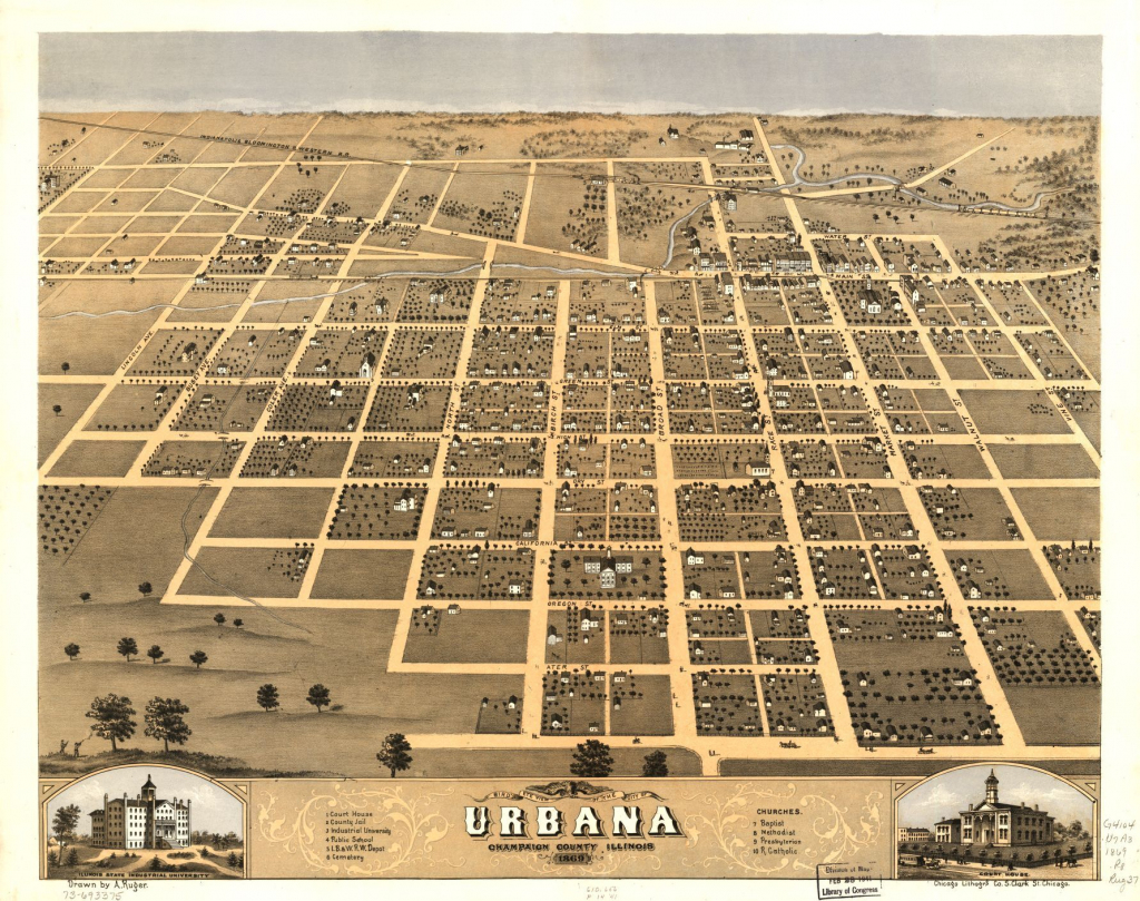 Bird's Eye View Of The City Of Urbana, Champaign County, Illinois inside Printable Map Of Champaign Il