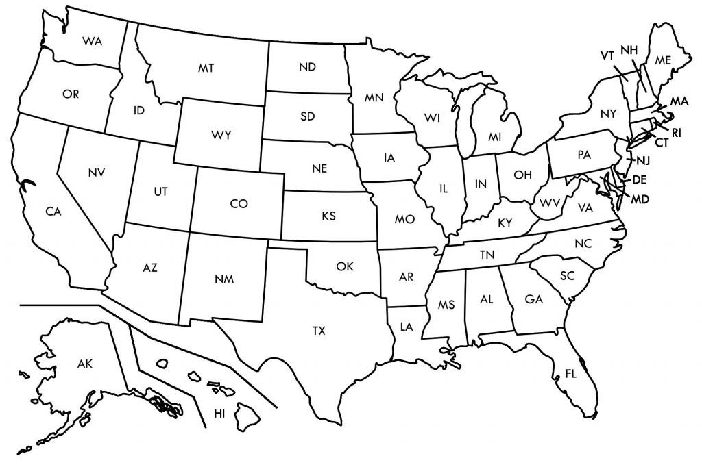 Black And White Map Us States Usa50Statebwtext Inspirational Best within Us Map Printable Pdf