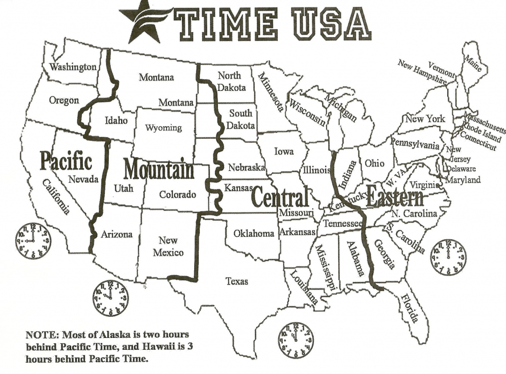 Black And White Us Time Zone Map - Google Search | Social Studies with Printable Time Zone Map For Kids