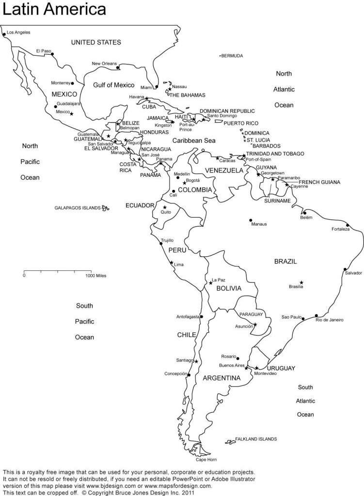 Blank Map Of Central And South America Printable And Travel in Printable Map Of Central And South America