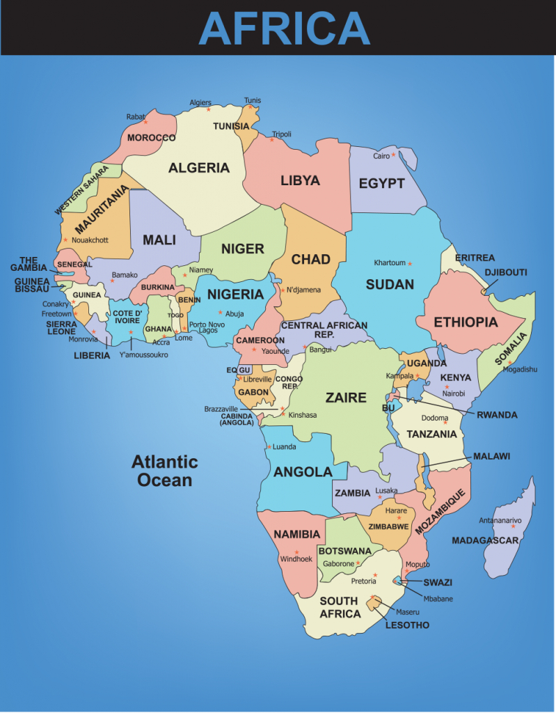 Blank Map Of The World With Countries And Capitals - Google Search intended for Printable Map Of Africa With Countries And Capitals