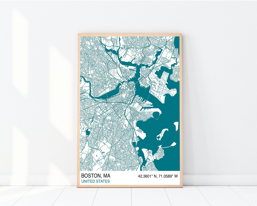 Boston City Map Print Custom Map Print Street Map Street | Etsy throughout Boston City Map Printable