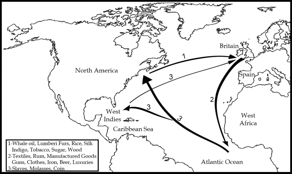 British Colonial Empire And Industrial Policy: Protection in Triangular Trade Map Printable