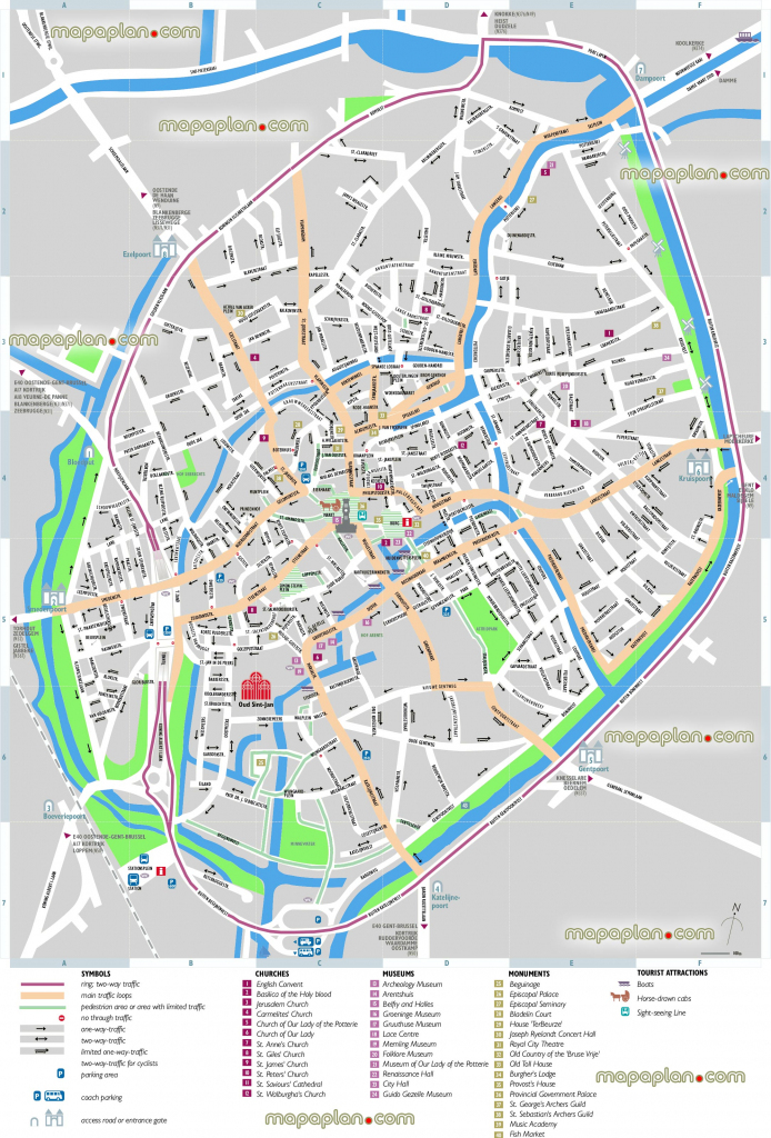 Bruges Map - Bruges Sightseeing Printable Virtual 3D Free Map For with regard to Bruges Map Printable