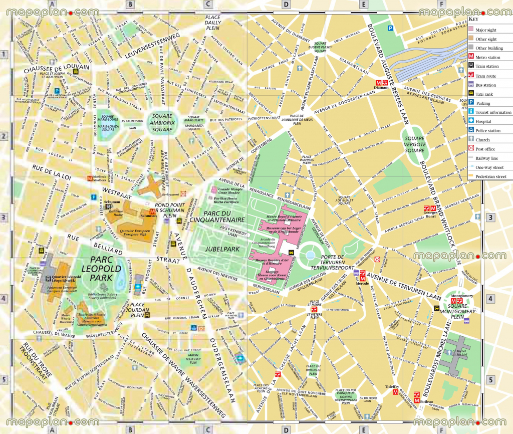 Brussels Top Tourist Attractions Map 09 Detailed Upper Town Street pertaining to Printable Map Of Brussels