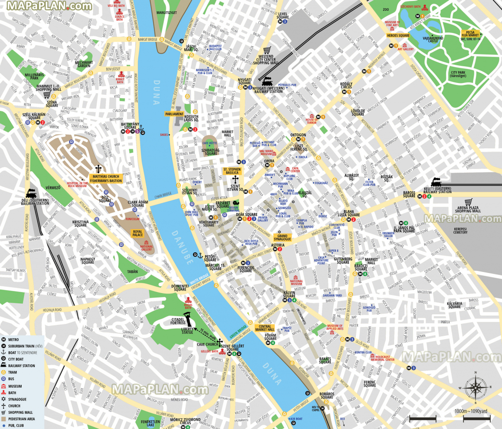Budapest Maps - Top Tourist Attractions - Free, Printable City for Printable Map Of Budapest
