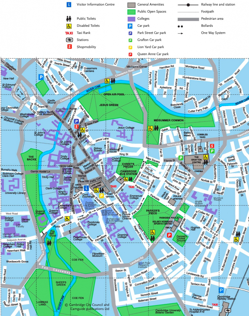 Cambridge Tourist Map intended for Cambridge Tourist Map Printable