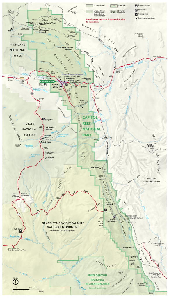 Capitol Reef Maps | Npmaps - Just Free Maps, Period. regarding Printable Map Of Utah National Parks
