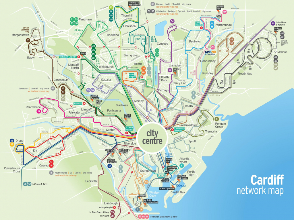 Cardiff Transport Map inside Printable Map Of Cardiff