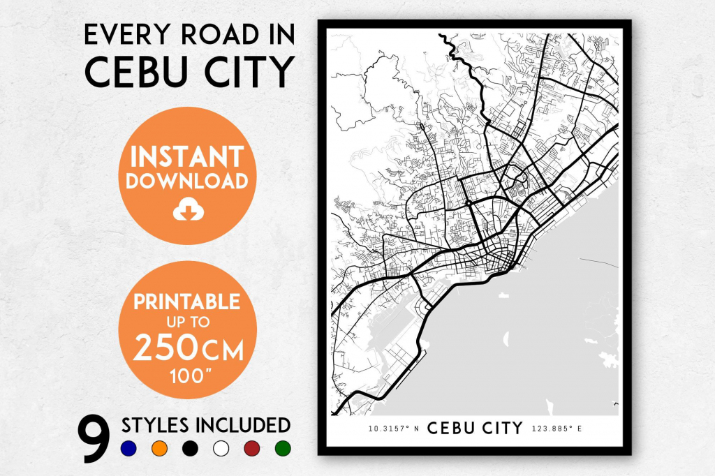 Cebu City Map Print Cebu City Print Cebu City Map | Etsy within Cebu City Map Printable