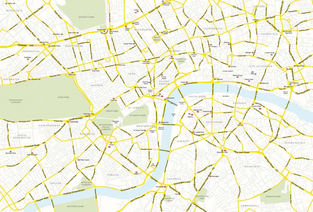 Central London Map - Royalty Free, Editable Vector Map - Maproom in Central London Map Printable