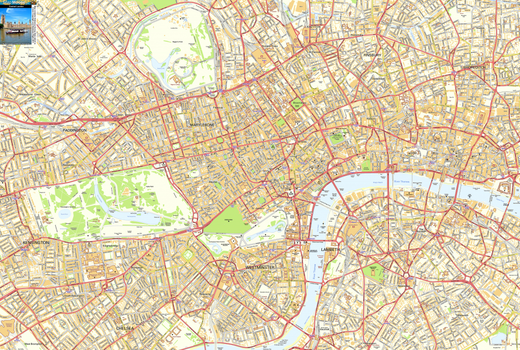 Central London Offline Sreet Map, Including Westminter, The City regarding London Street Map Printable
