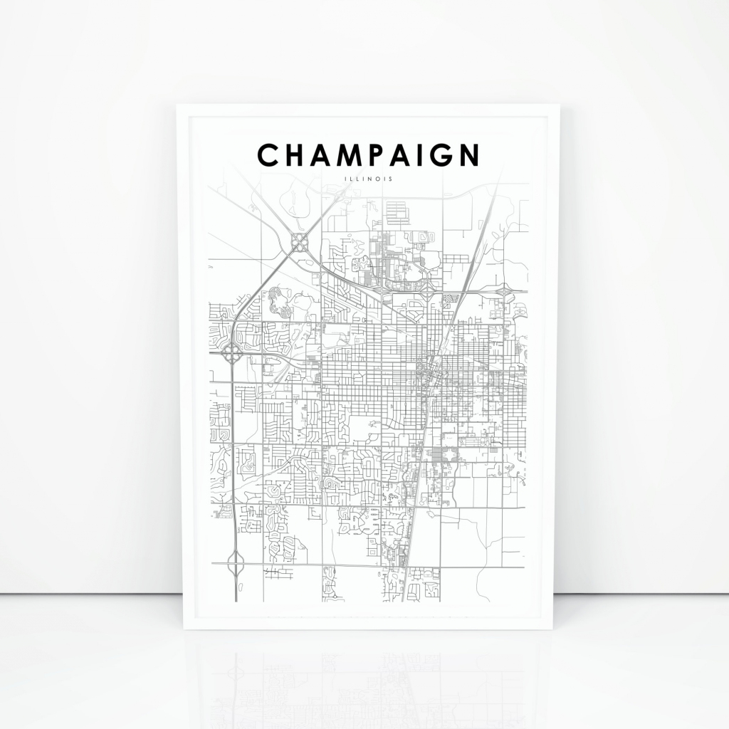 Champaign Map Print Illinois Il Usa Map Art Poster City   Etsy with Printable Map Of Champaign Il