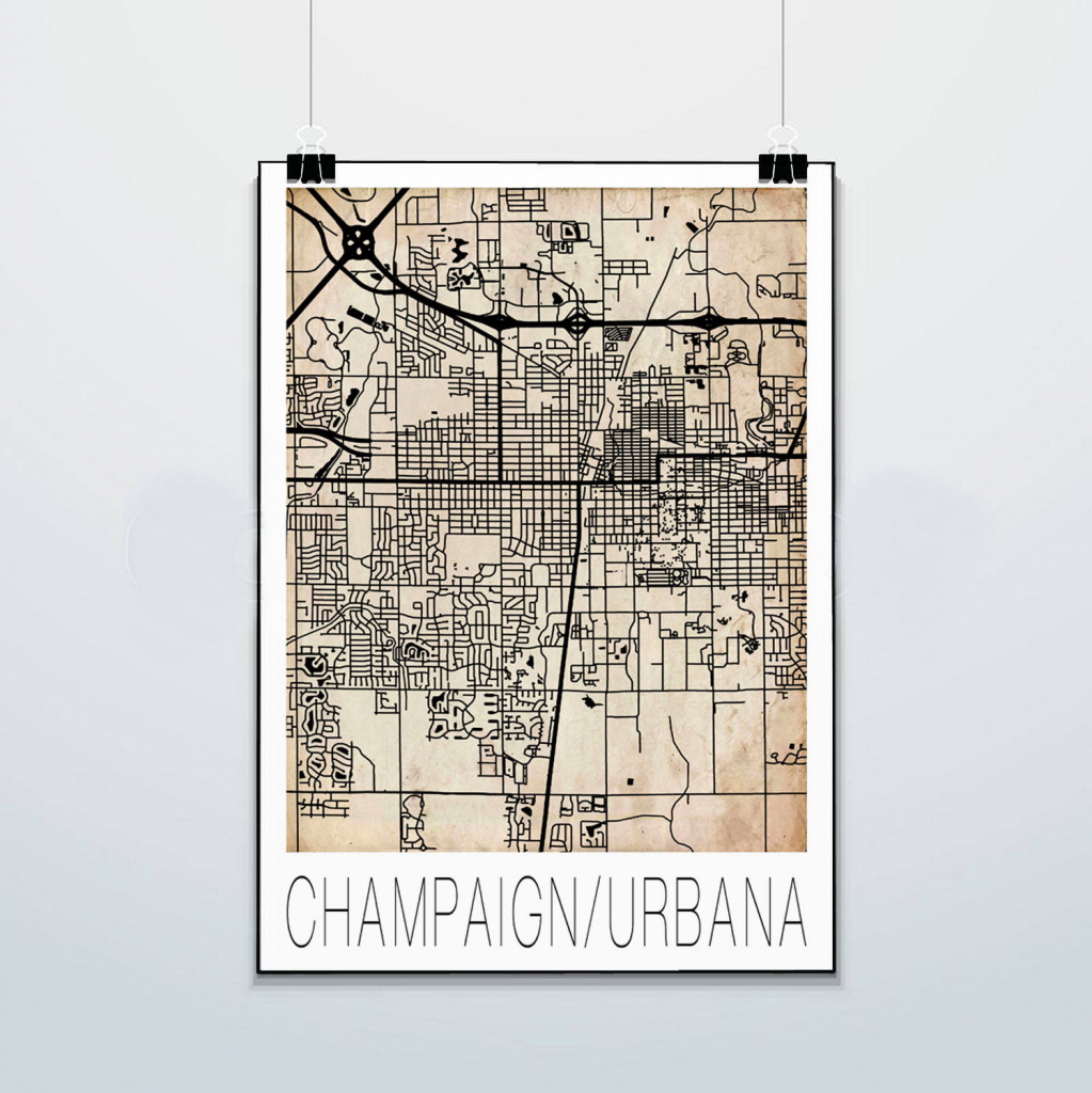 Champaign Urbana Map Print Poster Street Map Grunge   Etsy within Printable Map Of Champaign Il