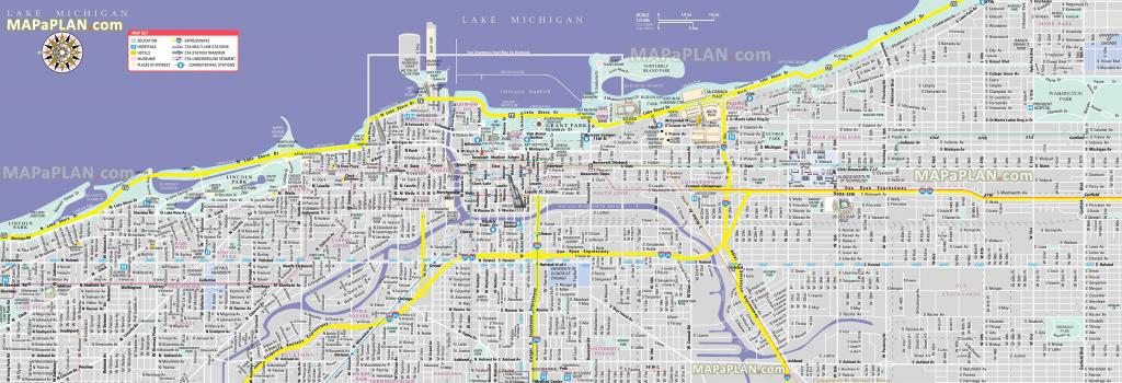 Chicago Maps - Top Tourist Attractions - Free, Printable City Street Map intended for Printable Street Map Of Downtown Chicago