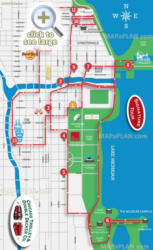 Chicago Maps - Top Tourist Attractions - Free, Printable City Street Map with Printable Walking Map Of Downtown Chicago