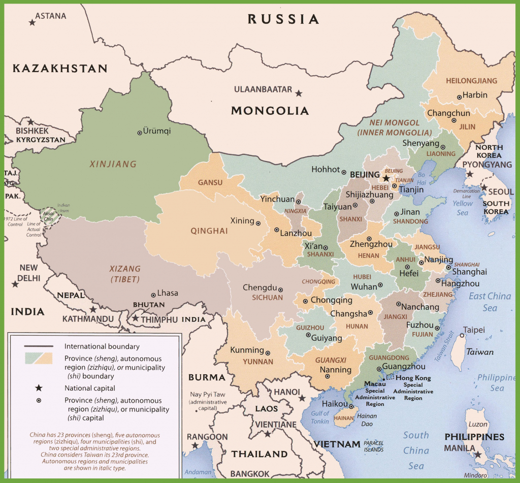 China Political Map with Free Printable Map Of China