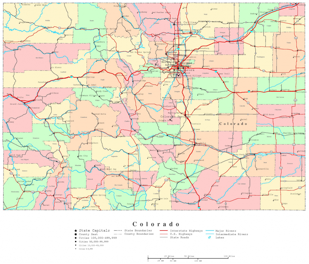 Colorado Printable Map pertaining to Printable Map Of Colorado