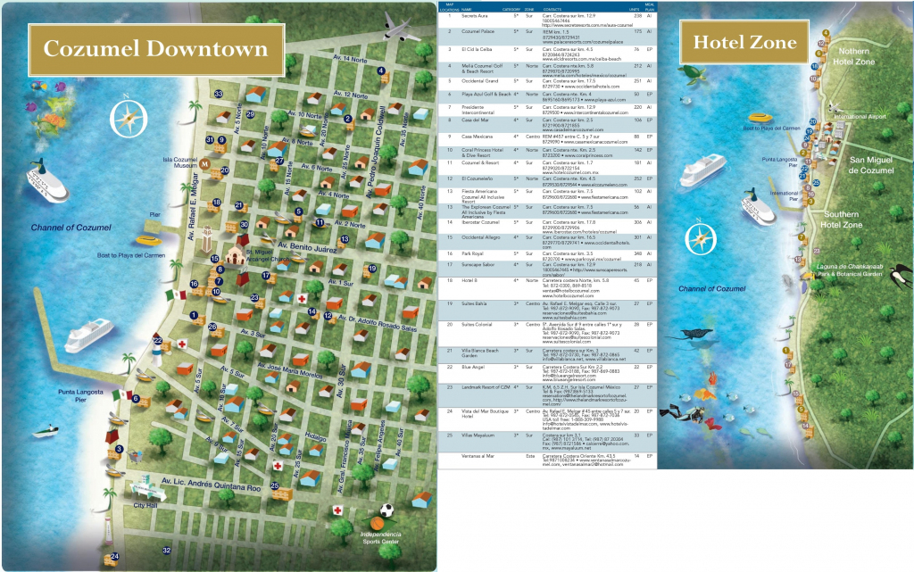 Cozumel Tourist Map And Travel Information | Download Free Cozumel within Printable Street Map Of Cozumel