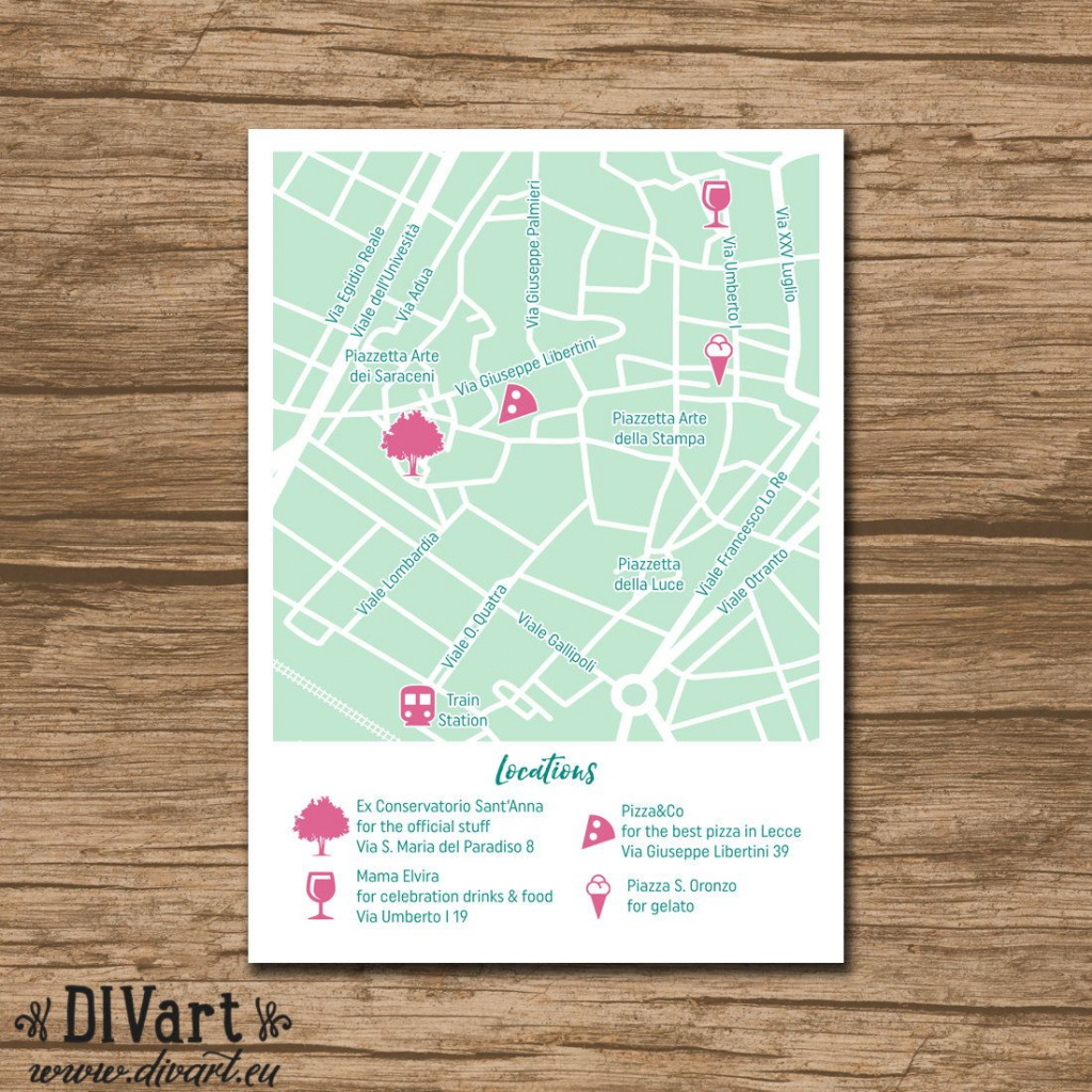 Custom Wedding Map, Event Map, Directions, Locations - Printable for How To Create A Printable Map For A Wedding Invitation