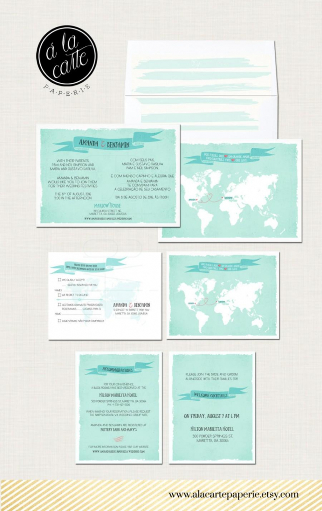 Destination Wedding Invitation Two Countries One Love Bilingual for Maps For Wedding Invitations Free Printable