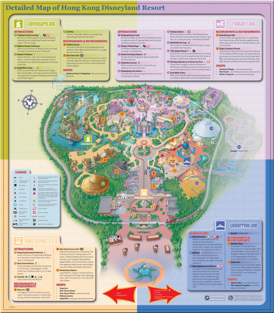 Detailed Map Of Hong Kong Disneyland Resort ? Four Themed Lands pertaining to Printable Disneyland Map 2015