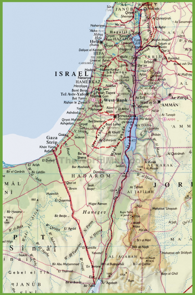 Detailed Map Of Israel With Cities intended for Printable Map Of Israel