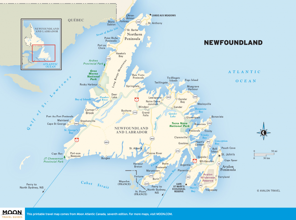 Detailed Map Of Newfoundland And Travel Information | Download Free throughout Printable Map Of Newfoundland