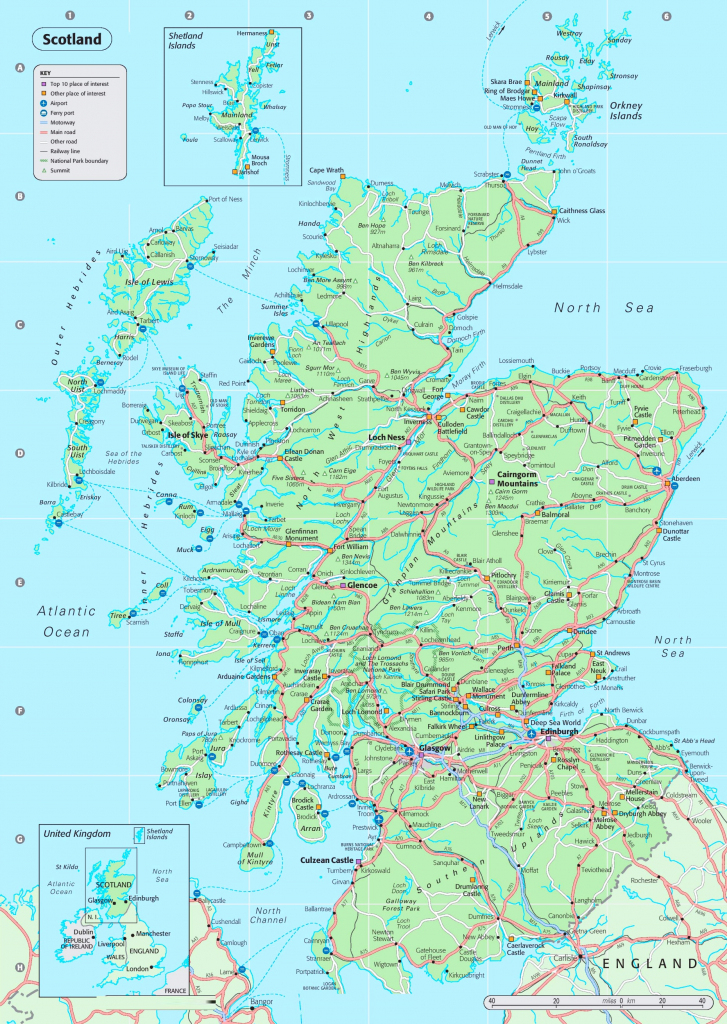 Detailed Map Of Scotland with Printable Road Map Of Scotland
