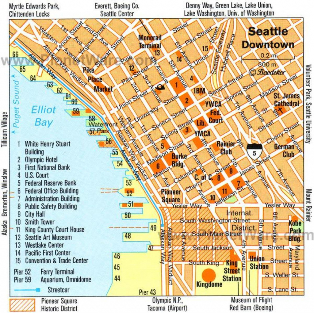 Downtown Seattle Walking Map - Walking Map Of Downtown Seattle intended for Printable Map Of Downtown Seattle