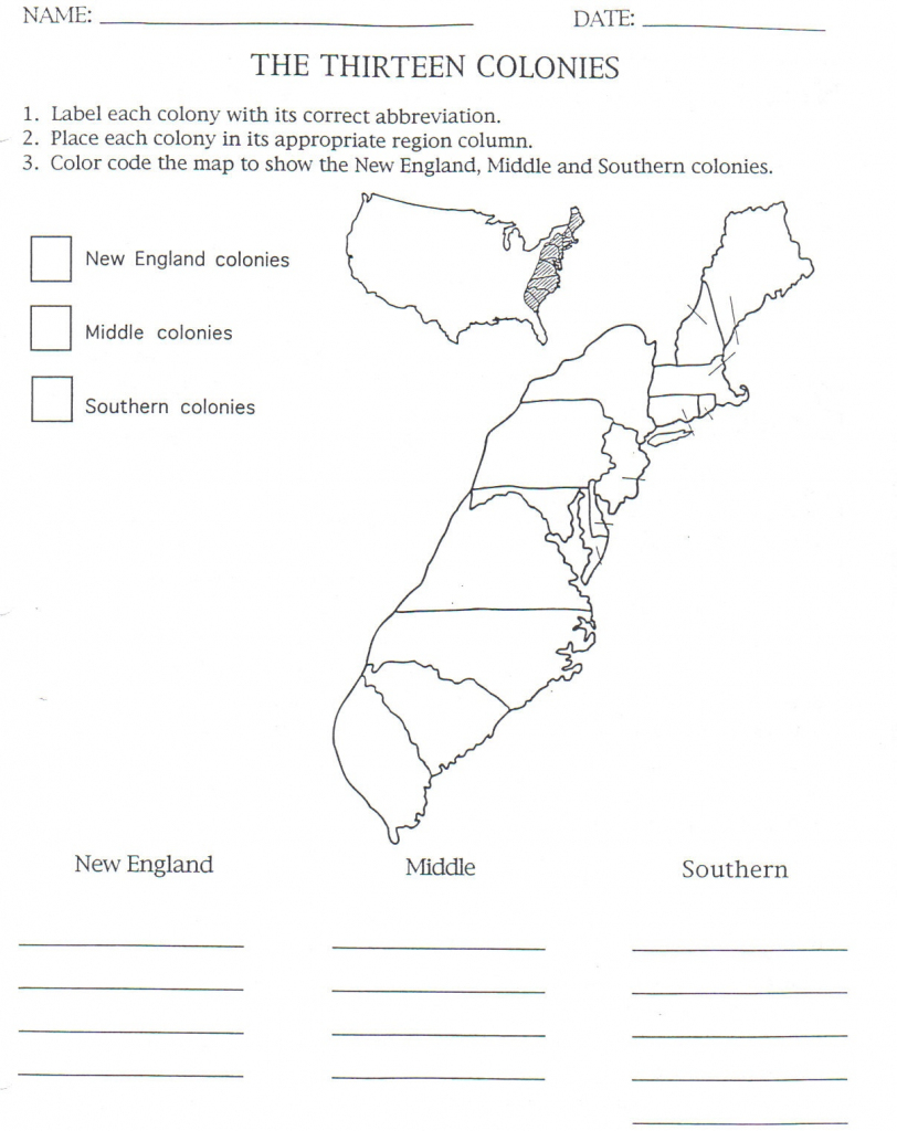 English Colonization - Birch Meadow 5Th Grade regarding Printable Map Of The 13 Colonies With Names
